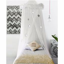 Boho And Beach White Feather Trim And Silver Star Bed Canopy